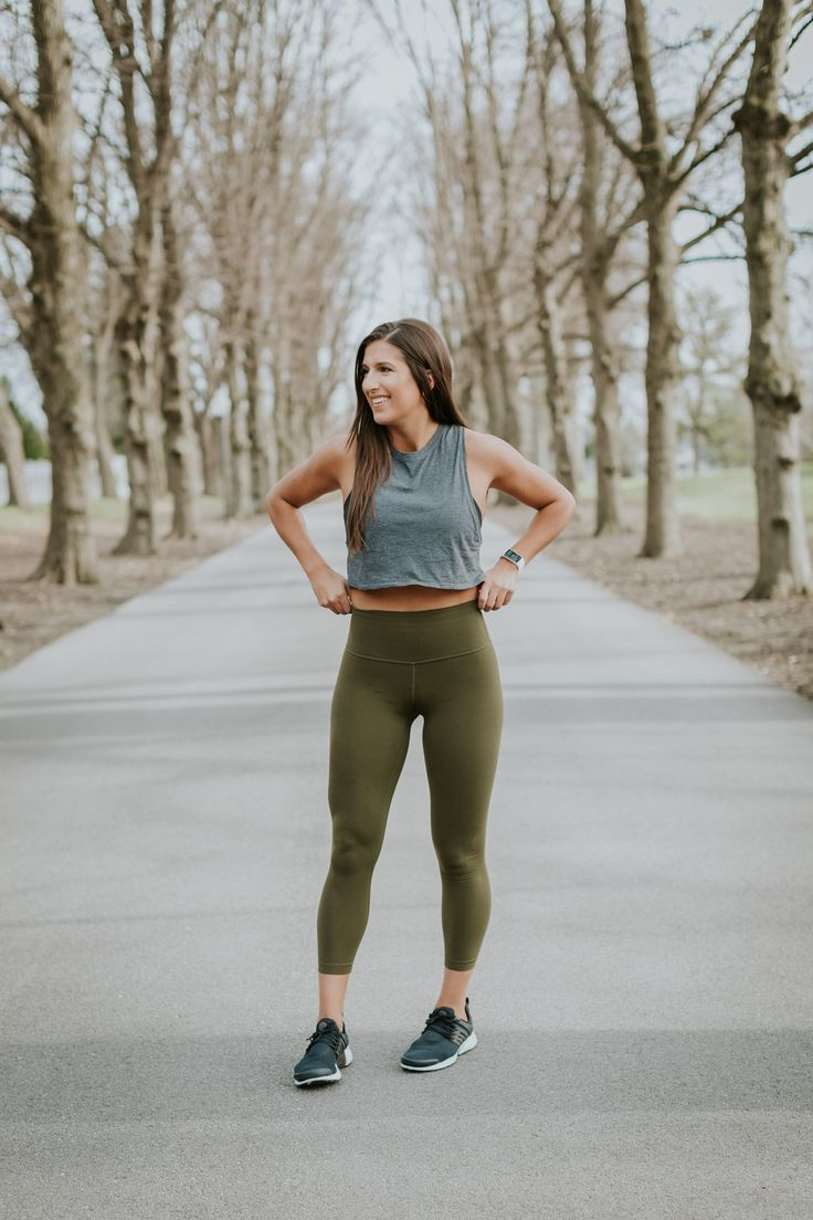 Trendy Fitness Outfits Gray Crop Top Olive Green Leggings Healthy Leading Health Well Being Inspiration Source